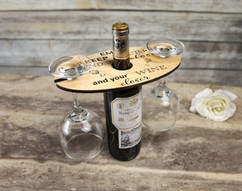 Personalized Wine Caddy & Glass Holder - Keep Your Friends Close