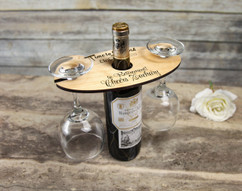 Personalized Wine Caddy & Glass Holder - Happy Retirement