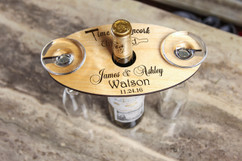 Personalized Wine Caddy & Glass Holder - Time to Uncork and Unwined