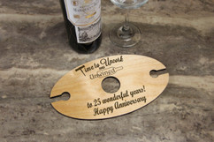 Personalized Wine Caddy & Glass Holder - Anniversary