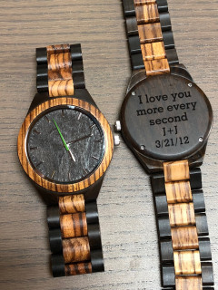 Wood Engraved Watch W#101