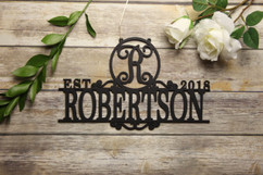 Family Sign - Elegant Family Name & Date Personalized Sign