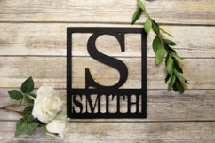 Family Sign - Square Initial Personalized Sign