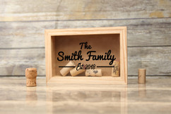Personalized Shadow Box - Family Name Cork Keeper