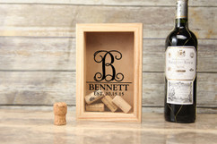 Personalized Shadow Box - Vine Initial Cork Keeper