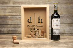 Personalized Shadow Box - Dual Initial Cork Keeper