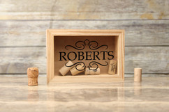 Personalized Shadow Box - Vintage Family Cork Keeper
