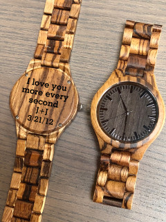 Wood Engraved Watch W#98
