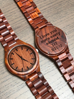 Wood Engraved Watch W#97