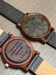 Wood Engraved Watch W#88