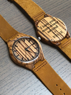 Wood Engraved Watch W#99