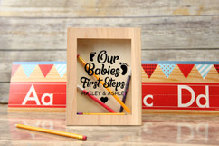 Personalized Shadow Box - 'Babies First Steps' School Memories
