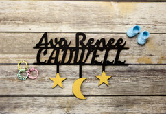 Family Sign - Dual-Tone Stars & Moon Personalized Sign