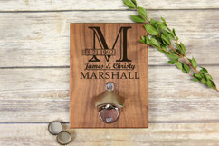 Personalized  Walnut Wood Bottle Opener - Imprint Initial Cutout