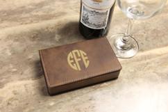 Leather Wine Opener Gift Set -  Circle Monogram