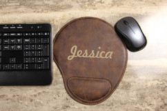 Personalized Leather Mouse Pad - Bold Cursive