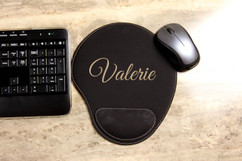 Personalized Leather Mouse Pad - Script
