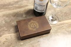 Leather Wine Opener Gift Set -  Circle Vine Monogram