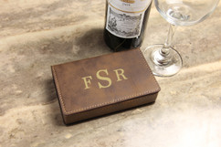 Leather Wine Opener Gift Set - Masculine Monogram