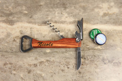 Personalized Cork Screw Bottle Opener - Script
