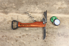 Personalized Cork Screw Bottle Opener - Serif