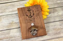 Personalized  Walnut Wood Bottle Opener - Nautical Anchor