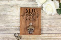 Personalized  Walnut Wood Bottle Opener - Mr & Mrs