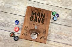 Personalized  Walnut Wood Bottle Opener - Man Cave