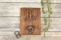 Personalized  Walnut Wood Bottle Opener - Vine Initial