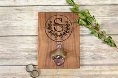 Personalized  Walnut Wood Bottle Opener - Wreath Initial