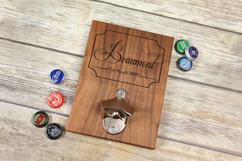 Personalized  Walnut Wood Bottle Opener - Fancy Family Name