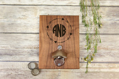 Personalized  Walnut Wood Bottle Opener - Arrow Monogram