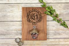 Personalized  Walnut Wood Bottle Opener - Circle Vine Monogram