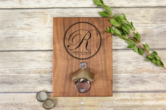 Personalized  Walnut Wood Bottle Opener - Fancy Initial