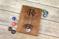 Personalized  Walnut Wood Bottle Opener - Floral Initial