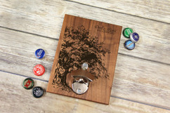 Personalized  Walnut Wood Bottle Opener - Oak Tree
