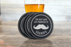 Personalized Leather Coasters  -  Promoted to Grandpa