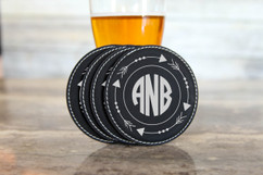 Personalized Leather Coasters  -  Arrow Circle Monogram