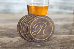 Personalized Leather Coasters  -  Fancy Initial
