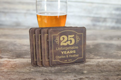 Personalized Leather Coasters  -  Unforgettable Years