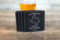 Personalized Leather Coasters  -  Our Story Began