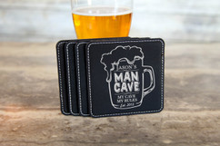 Personalized Leather Coasters  -  Man Cave