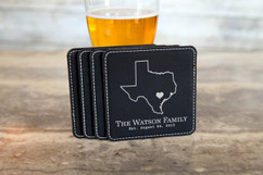 Personalized Leather Coasters  -  State Outline