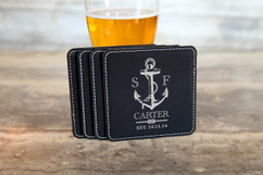 Personalized Leather Coasters  -  Anchor