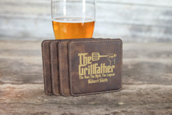 Personalized Leather Coasters  -  Grillfather