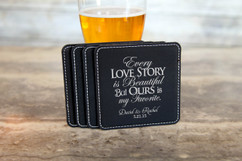 Personalized Leather Coasters  -  Every Love Story
