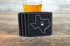 Personalized Leather Coasters  -  State Initial