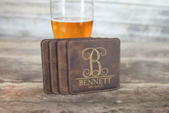 Personalized Leather Coasters  -  Vine Initial