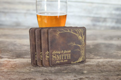 Personalized Leather Coasters  -  Love Tree with Names