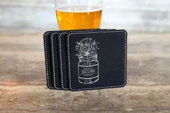 Personalized Leather Coasters  -  Mason Jar